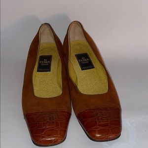 Vintage Fendi Suede & Leather 1.5 Chunk Heel Rust